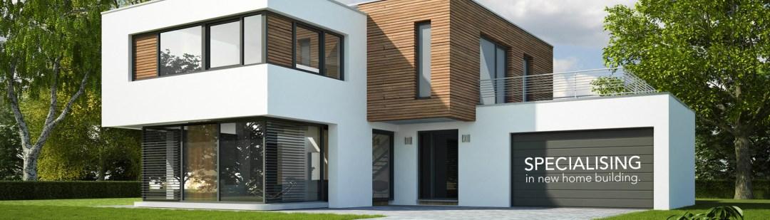 Beautiful house with glazed windowns and aluminium garage doors