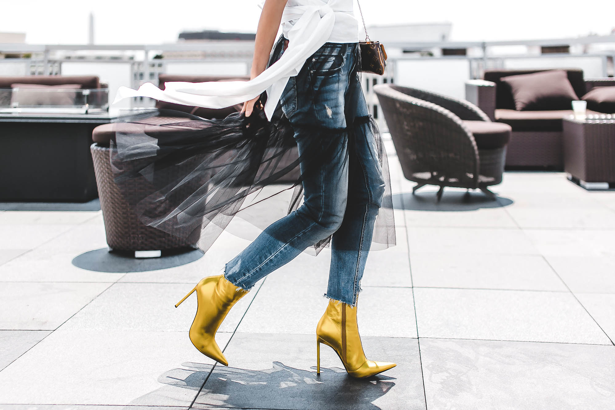 Black dress yellow accessories - I Was Excited To Have Found These Booties By Haider Ackermann In A Fun Metallic Yellow Hue And Paired Them With A Simple Black White And Denim Palette To