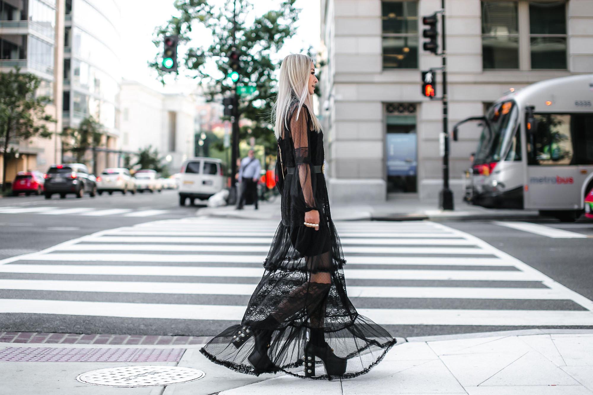 Anchyi Adorned fashion blogger street style in ASOS sheer maxi dress, Gucci pearly rings, belt and shoes, and Saint Laurent bag.