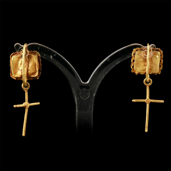 Byzantine Earrings with Cross Pendants