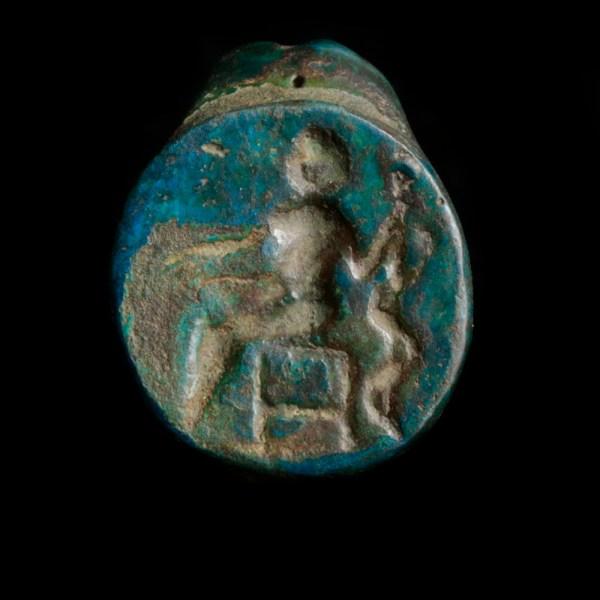 Roman Bronze Ring with Aesculapius Intaglio
