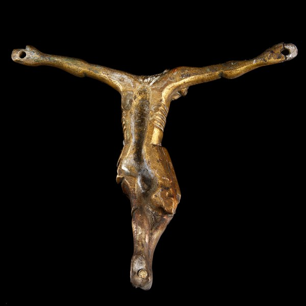 French Medieval Gilded Crucifix
