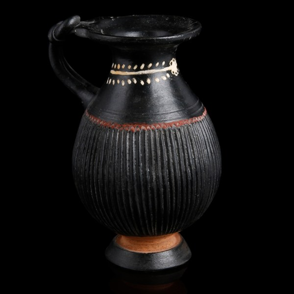 Gnathia Black Ware Jug with Herakles Knot