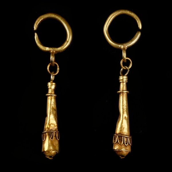 Ancient Roman Earrings with Hercules Club Pendant