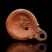 Roman Oil Lamp with Peacock and Pomegranates
