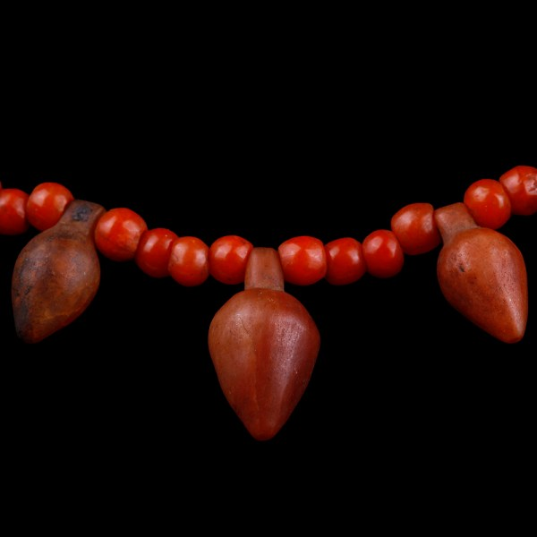 Egyptian Carnelian Bead Necklace with Heart Amulets