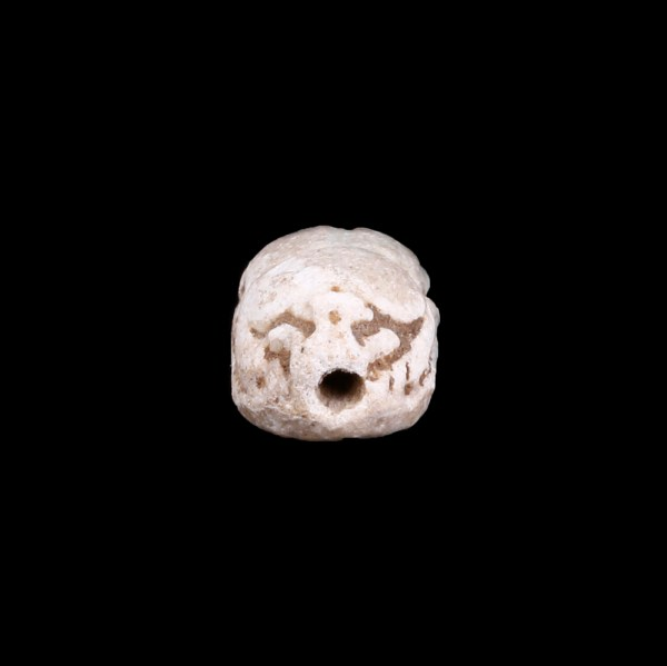 White Steatite Bastet Scarab