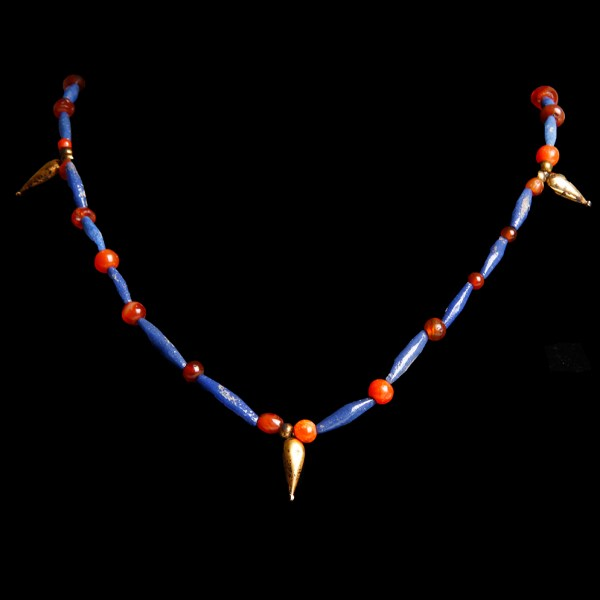 Egyptian Necklace with Lapis Lazuli Palmette Amulet
