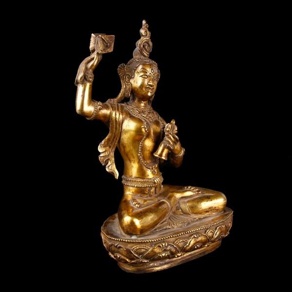 Tibetan Gilded Bronze Machig Labdron Statuette