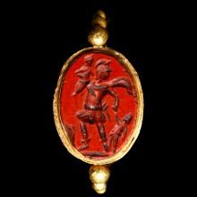 Roman Gold Ring with Aeneas Escaping from Troy