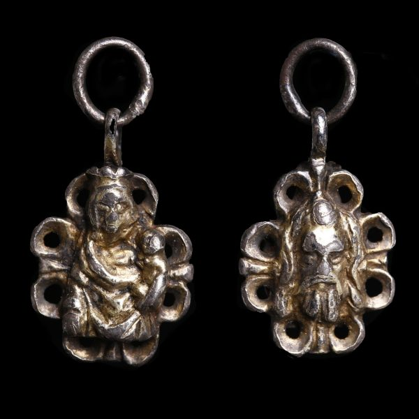Medieval Silver Pendant with Madonna and Christ
