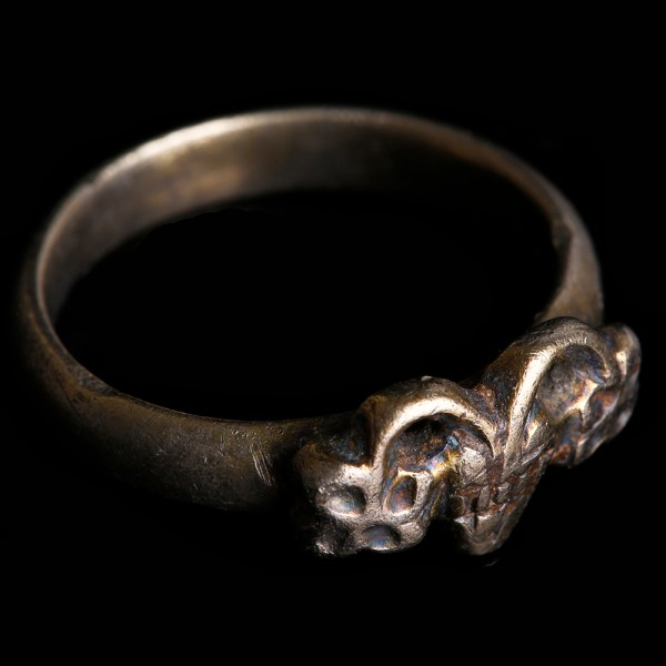 Medieval Silver Ring with Engraved Christogram