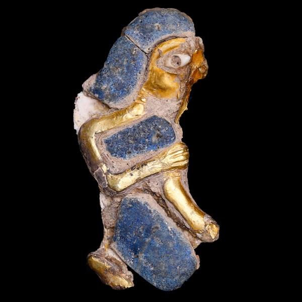 Western Asiatic Gold and Lapis Lazuli Anthropomorphic Applique