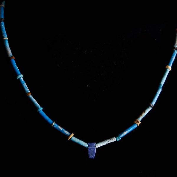 Egyptian Necklace with Faience Beads and Lapis Amulet