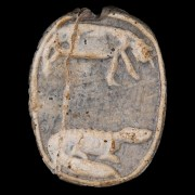 Egyptian Steatite Scarab with a Hippopotamus & Crocodile