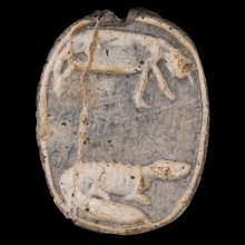 Egyptian Steatite Scarab with a Hippopotamus & Crocodile