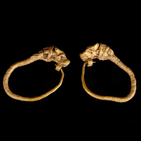 Greek Hellenistic Earrings with Bull Head Terminals