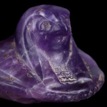 Egyptian Amethyst Falcon Headed Scarab