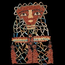 Beaded Mummy Mask with Funerary Portrait, Winged Scarab and Four Sons of Horus