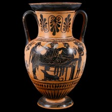 Greek Attic Amphora with Black Figures from the Edinburgh Painter's Workshop