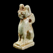 Faience Amulet of the Goddess Bastet as a Cat