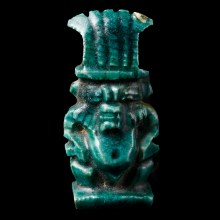 Egyptian Turquoise Faience Bes Amulet