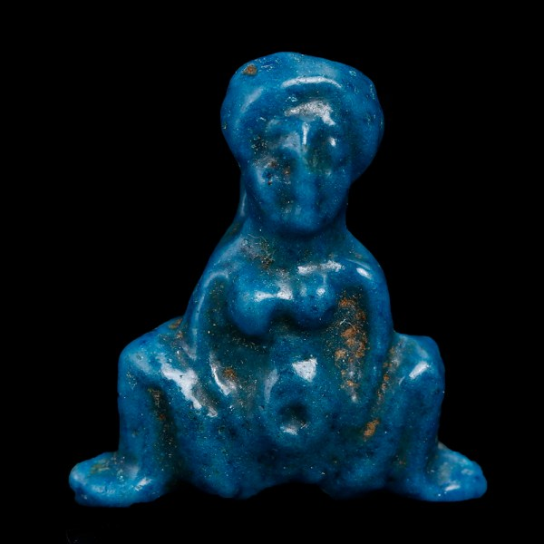 Egyptian Faience Amulet of Goddess Baubo
