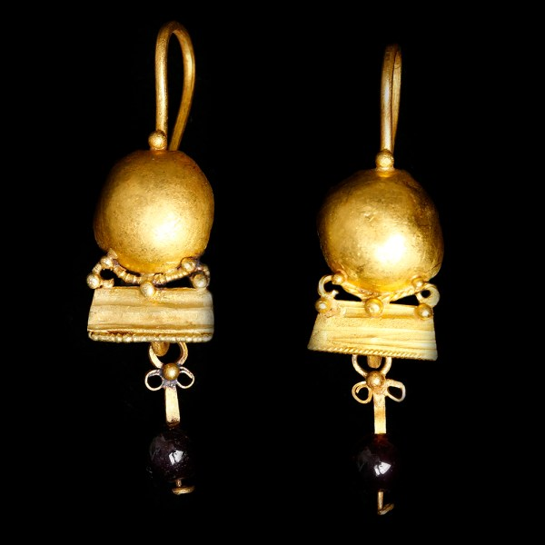 Ancient Roman Gold Earrings with Discs and Garnet Beads