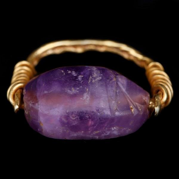 Egyptian Amethyst Scarab Gold Ring