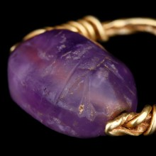 Egyptian Amethyst Scarab Gold Ring