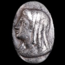 Hellenistic Ptolemaic Silver Ring with Profile of Queen as Isis