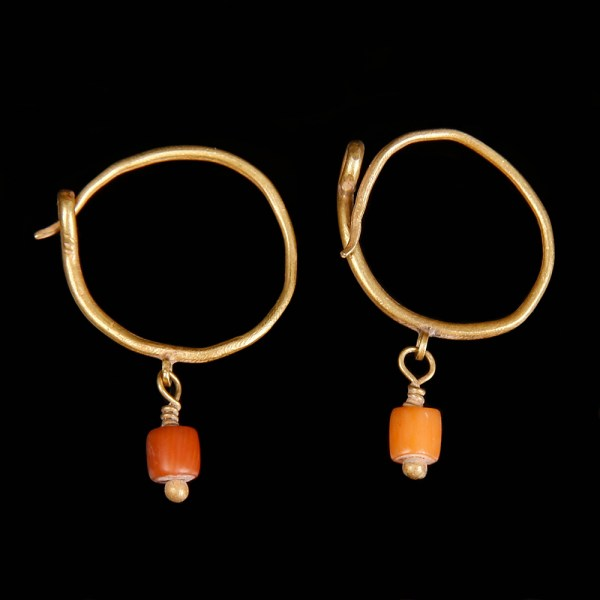 Roman Gold Hoop Earrings with Coral Beads