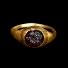 Roman Gold Ring with Beast Intaglio