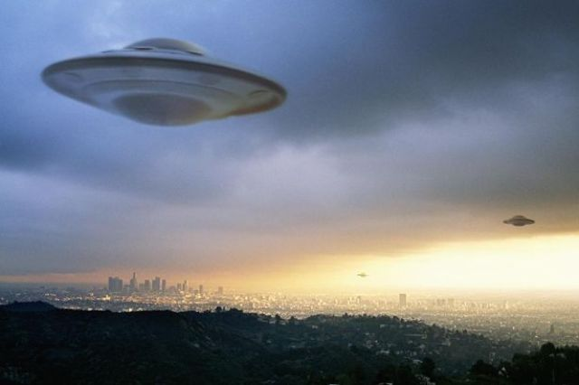 UFO flying in the sky