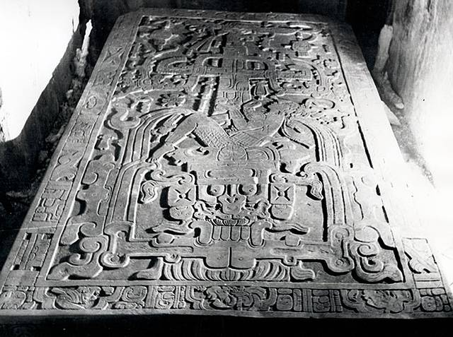 Ancient alien theorists propose that it clearly depicts King Pacal in some sort of spaceship during takeoff, and they argue that his hands appear to be manipulating some sort of machinery.