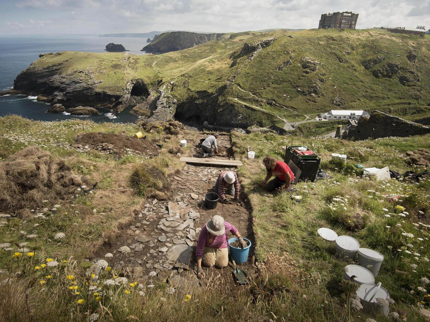 The excavation set out to find more about Tintagel's past which is believed to date back to the 5th and 6th centuries Emily Whitfield-Wicks