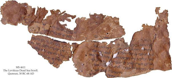 Este fragmento de desplazamiento conserva partes del libro de Levítico.  Crédito: La Colección de autor Schøyen, Oslo y Londres, MS 4611
