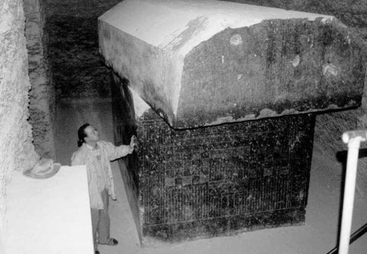 An image of the massive Sarcophagi at the Serappeum of Saqqara.
