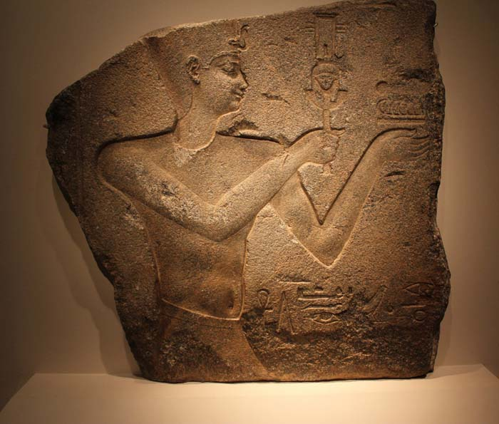 Ptolemy II relief with Ritual Rattle