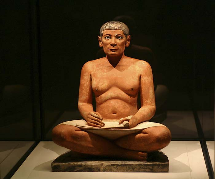Statue of a Seated Scribe, displayed at the Louvre