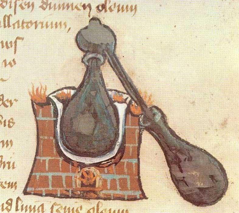 Alambique: ilustración de un manuscrito medieval. (Public Domain)