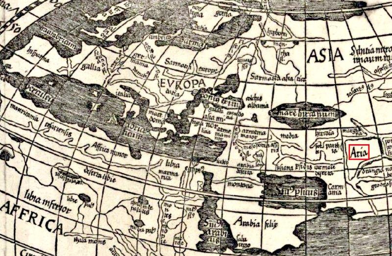 La inclusión de los arios en el mapa de Waldseemüller de 1507. (Public Domain)
