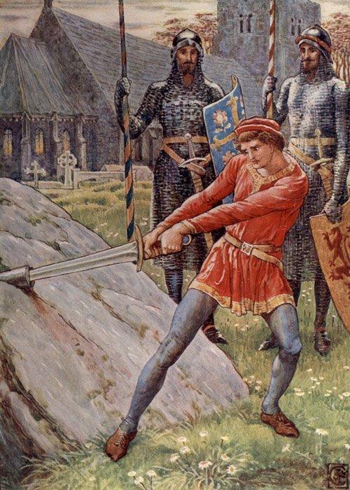 'Arturo saca la espada de la piedra', ilustración del artista inglés del siglo XIX Walter Crane. (Public Domain)