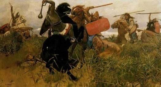 Batalla entre escitas y eslavos (Viktor Vasnetsov, 1881). (Dominio público)