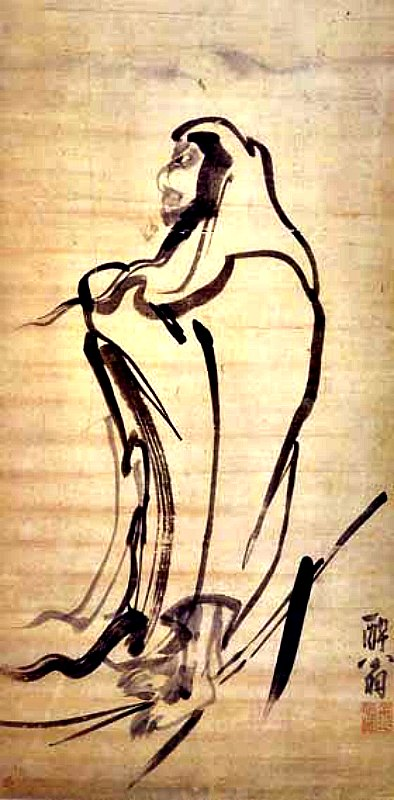 """Bodhidharma cruza el río sobre un tallo de junco,"" pintura de Kim Myeong-guk, dinastía Joeon. (Public Domain)"
