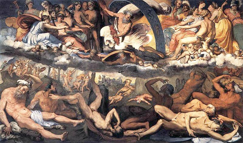 'La caída de los Gigantes' (1531-1533), fresco pintado por Perino del Vaga (1501-1547) en la Villa del Príncipe de Génova, Italia. (Dominio público)