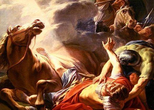 Detalle, 'La conversión de San Pablo'. Pablo y sus compañeros son arrojados al suelo por una luz cegadora. (Public Domain)