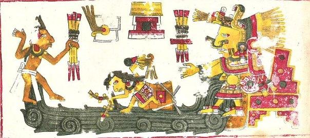 El mito del diluvio universal puede hallarse en muy diversas culturas: hindú, sumeria, griega, acadia, china, mapuche, maya, azteca y pascuense (Isla de Pascua). Así, en el manuscrito mexica denominado 'Códice Borgia', se recoge la historia del mundo dividida en edades, de las cuales la última terminó con un gran diluvio provocado por la diosa Chalchiuhtlicue. En la imagen, ilustración de Chalchiuhtlicue perteneciente, precisamente, al Códice Borgia. (Public Domain)