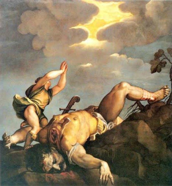 """""""David y Goliat"""", óleo pintado entre los años 1542 y 1544 por el artista renacentista italiano Tiziano. Iglesia de Santa María de la Salud. Venecia, Italia. (Public Domain)"""