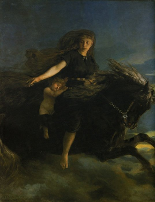 Nótt cabalga a Hrímfaxi en esta pintura del siglo XIX obra de Peter Nicolai Arbo. (Public Domain)